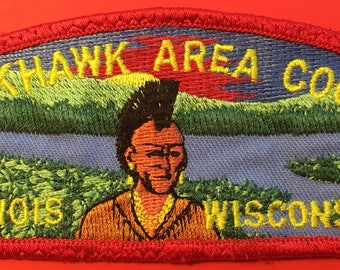Boy Scout of America Blackhawk Area Council Illinois-Wisconsin Shoulder Patch Used (E21)