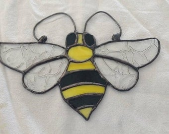 Stained Glass Black and Yellow Bumblebee Suncatcher
