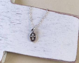 Confirmation Gift,charm necklace,Cross necklace, antique silver cross,minimalist jewelry, gift for her, girls necklace