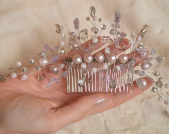 """Wedding comb with pearls and amethyst """"Purple haze"""""""