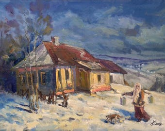 Winter landscape with oil, winter etude, author's impressionism, oil on canvas, Oil painting, village house Wall decoration, 35 by 50 cm