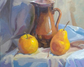 Still Life Oil Fruits Pitcher with fruit Oil painting Still life art Still-life pitcher Bright Still Life Still life of apple pear Picture
