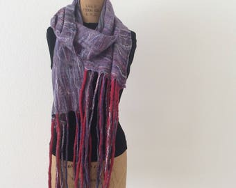 Red white and blue cobweb felted scarf