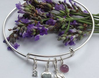 Forever in my heart. Personalised Sterling silver & amethyst angel wing memory bangle