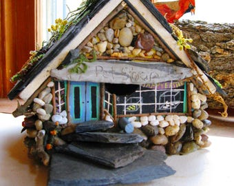 Fairy Pet Store House by FairyArtizans, Miniatures, Garden decor, Yard art, Fairy house, garden art, , birdhouses, miniature flowers