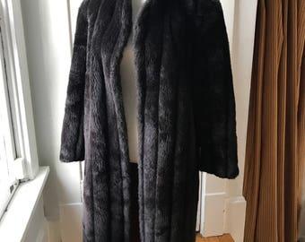 Dark Brown Black 1960s Faux Fur Coat