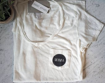MAMA Women's White Pocket Tee