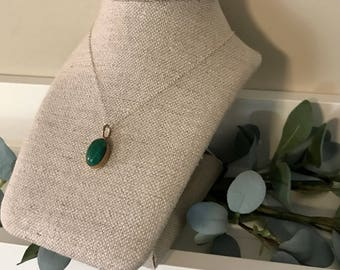 Gold and Silver Green Pendant