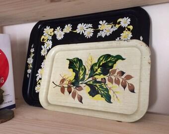 Vintage Tin Flower Tray / Metal Flower Tray / Retro Metal Serving Tray / Vintage Serving Tray