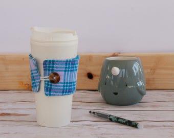 Coffee Cozy Sleeve - teal and purple plaid / reusable coffee sleeve