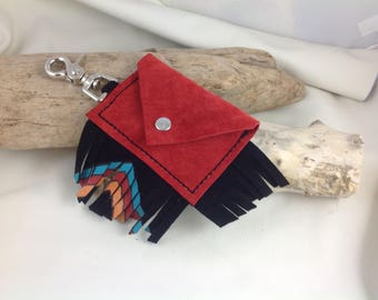 Red and Black Suede Fringed Aztec Key/Card Holder