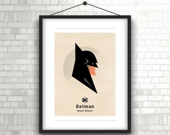 Batman print, Justice League, DC, Comics, Superhero, Bruce Wayne, Gotham, Poster, Instant print, Art, Wall art