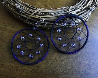 Earrings - Dreamcatcher Earrings - Tanzanite Earrings - Purple Earrings - Boho Jewelry - Boho Earrings -