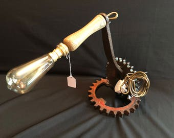 Old farm machinery cogs table Lamp... upcycled