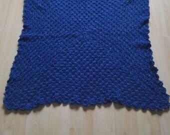 "Crochet blue baby blanket 34""x34"""