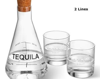 Personalized Tequila Decanter in Wood Crate with set of 2 Lowball Glasses - Wedding Gifts - Liquor Decanter Set - Glassware - Decanter