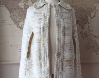 Vintage Handmade Knitted Cape / 1960s 1970s / vintage outerwear