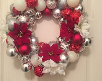 Silver & Red Christmas Wreath