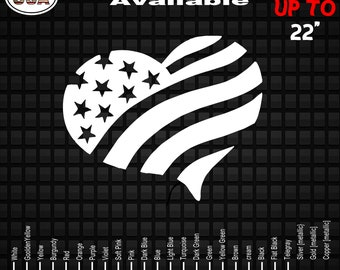 American Flag Heart Decal Sticker | Car Window Decals | Patriotic Decals | Military Army Decals | Truck Decals | USA Decals