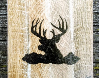 Mini Buck in foliage rustic wood hunting oil acrylic painting Home decor sign