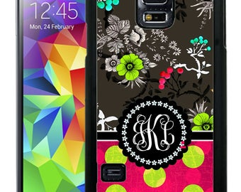 Monogrammed Rubber Case For Samsung S5, S6, S6 edge, S6 Edge Plus, S7, S7 Edge,  8, 8 plus - Pink Flowers Polka Dots