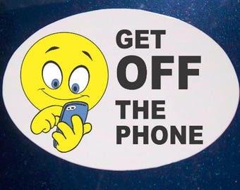 Get Off Phone Car Magnet, Emoji Magnet, Oval Car Magnet, Emoji Car Magnet, No Text and Drive, No Phone