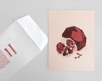"Illustration ""Garnet...the birthstone of January"" (with printed envelope)"