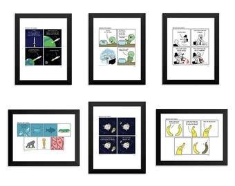 Set of 6 Signed Comic Art Prints