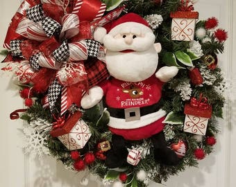 Custom Singing Santa Wreath, Front Door Wreath, Best Door Wreath, Holiday Wreath, Red Xmas Decor, Custom Door Wreath, Christmas Wreath