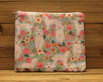 White Poodle Zipper Pouch