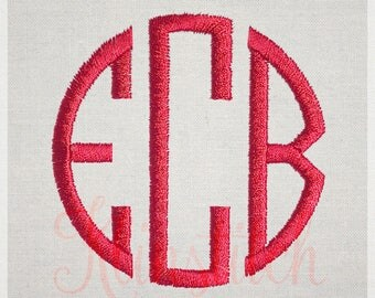 Slim Circle Monogram Embroidery Fonts 7 Sizes Three Letters Monogram Fonts BX Fonts Embroidery Designs PES Alphabets - Instant Download