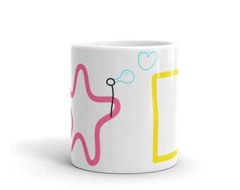 Bubble Buddies Mug, Bubble Blowing Double Babies, Starfish and Sea Sponge, Cartoon Mug, Pop Culture Mug, Blowing Bubbles, Sea Creatures