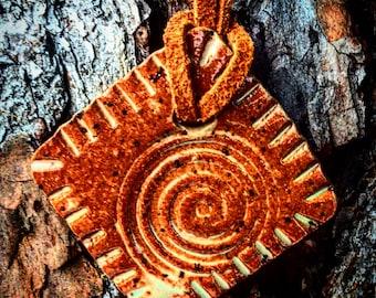 Ceramic Stoneware Pendant on Leather Cord Boho Hippie Style