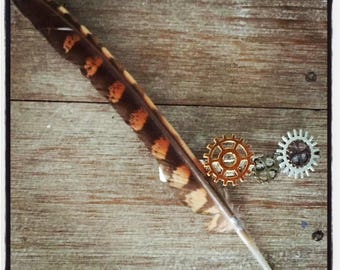 FEATHER & COG HAIRCLIP - Steampunk Kids