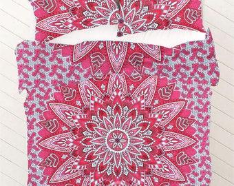 Boho Queen Size Mandala Bedding Duvet Doona Set - Vivid Pink