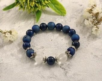 Deep blue bracelet Something blue Druzy bracelet Blue agate bracelet Navy blue Gemstone bracelet Boho bracelet Bridesmaid bracelet Stretch