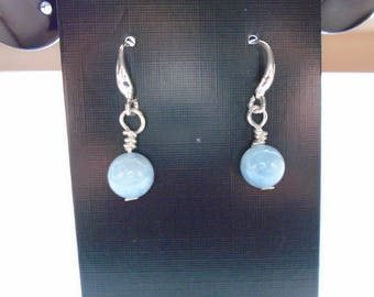 Sterling Silver Blue/Green Aquamarine Dangle Earrings