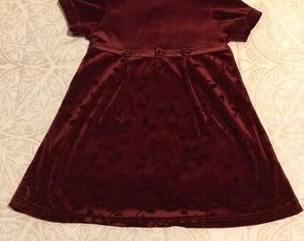 Burgundy 2/3T Velvet Dress