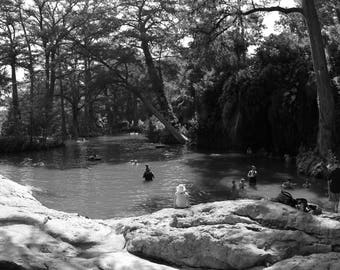 Black and White Photo of Krause Springs Swimming Hole  // Nature Photography in Austin, Texas