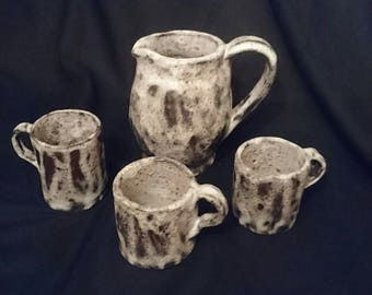 All 3 cups + medieval serving pitcher