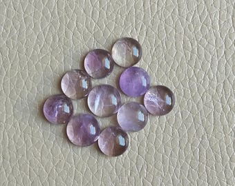 Natural Amethyst Round Cabochons 10x10x5 MM 10 Pcs Natural African Amethyst Cabochon Gemstone Lot, Healing Amethyst Gemstones and Crystal.