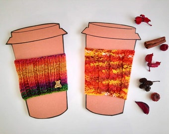 Pack of two, coffee sleeve, hand knit cozy, coffee cozy, cup cozy, coffee gift, cable knit cozy, orange cozy, coffee cup holder.