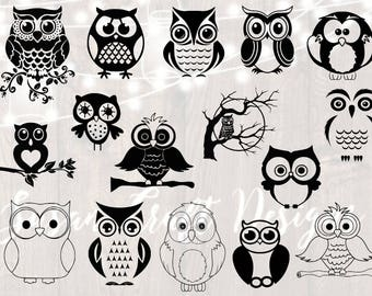 Owl svg bundle, owl silhouette svg, owl clipart,dxf,png