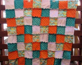 "Orange Owl Minky Rag Quilt 35"" x 35"""