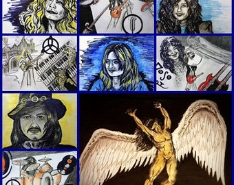 Led Zeppelin collage, art print, an homage to Led Zeppelin, members of the group and scenes from their movie The Song Remains the Same
