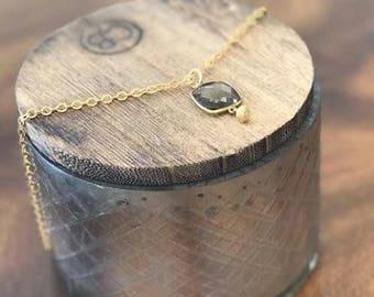 Faceted Smoky Quartz Gold Pendant Necklace
