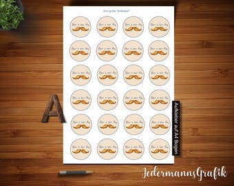 30 Sticker-Scrapbook Sticker-For instant download-greetings have a nice day with mustache-4 cm-1.574 inches