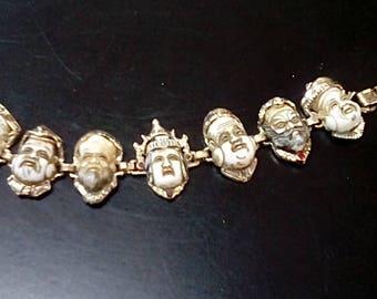 Vintage 1960's Lucky Seven Asian Faces Link Bracelet