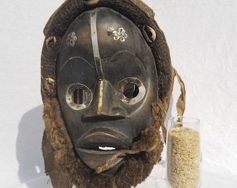 TRIBAL EXOTICS : PREMIUM Authentic fine tribal African Art - Dan Gioh Raffia Wood Mask Figure Sculpture Statue