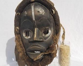 TRIBAL EXOTICS : PREMIUM Authentic fine tribal African Art - Dan Gioh Raffia Wood Mask Figure Sculpture Statue